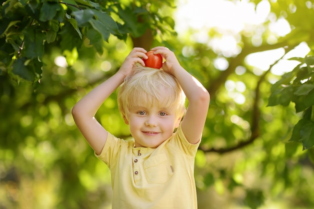 Little boy having fun with red tomato on head in domestic garden