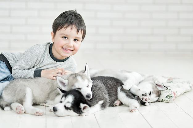 Little boy and husky puppies sleeping