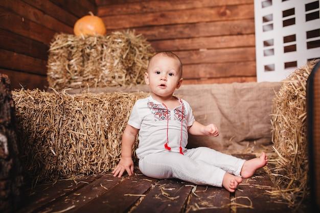 装飾されたスタジオの干し草の山に座っている刺繡シャツの少年。感謝祭の日。
