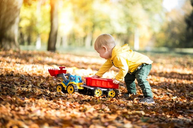 秋の公園の小さな男の子