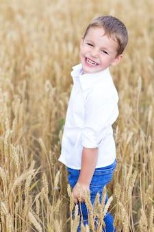 Little boy laughs in a wheat field