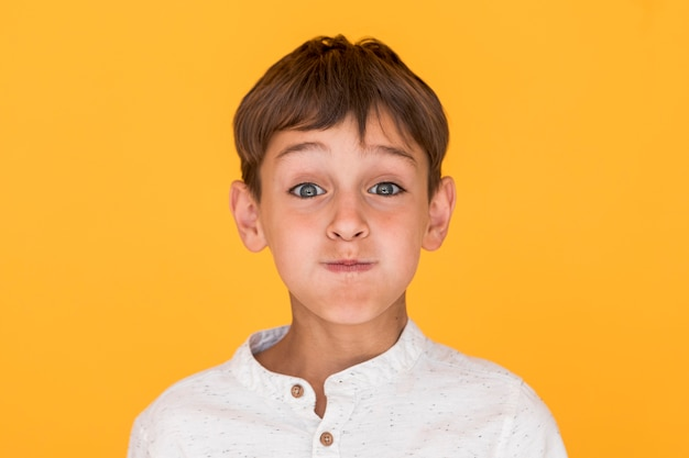 Little boy making a silly face
