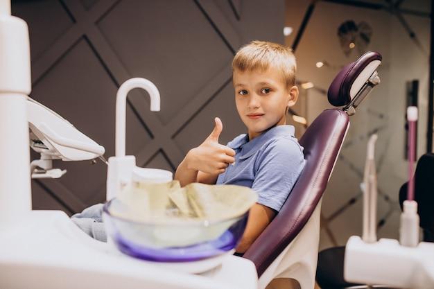 Маленький мальчик-пациент у стоматолога