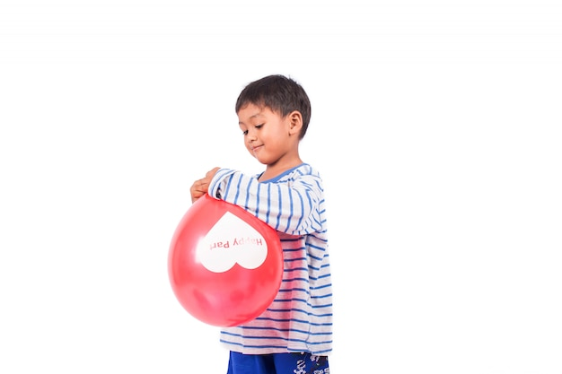 Little boy play balloon