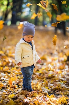 Little boy playing and tossing leaves in autumn park