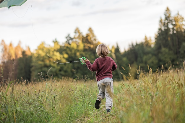 Little boy running through beautiful autumn meadow flying a kite