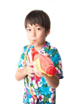 Little boy sibling boy in thai flower dress tradition for thai new year