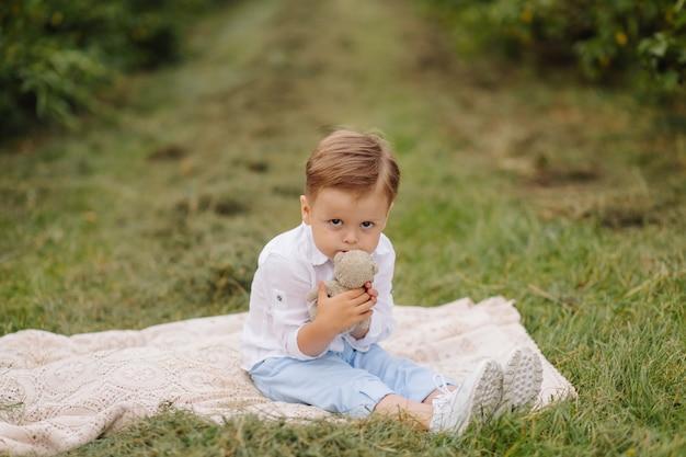 Маленький мальчик сидит на плед для пикника в коттеджном саду