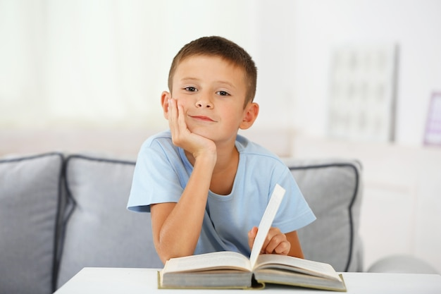 Little boy sitting on sofa with book, on home interior background