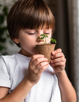 Little boy smelling plant in pot at home