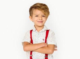 Little Boy Smiling Happiness Studio Portrait