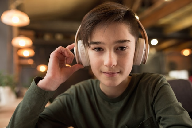 그룹 화상 통화로 공부하는 어린 소년, 온라인 과정을 듣고 교사와 화상 회의를 사용합니다.