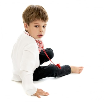 Little boy in ukrainian embroidered shirt