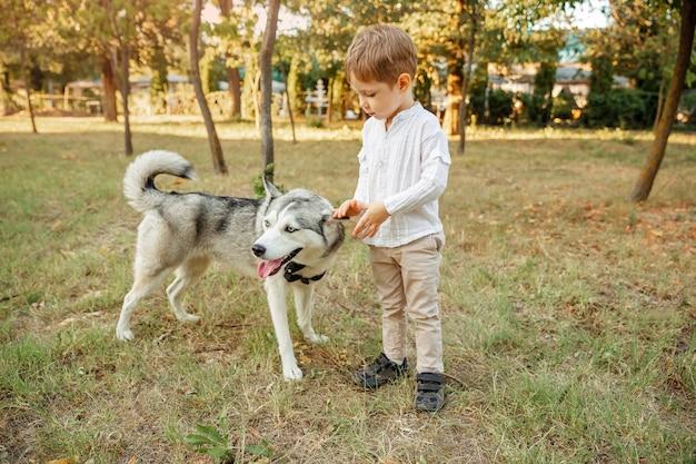 Маленький мальчик гуляет с собакой. ребенок играет со своим щенком в парке