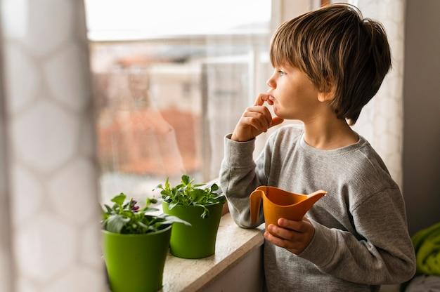 窓際の植物に水をまく少年