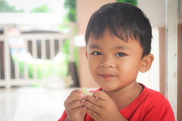 Little boy with lemons. sour taste, facial emotions negative,