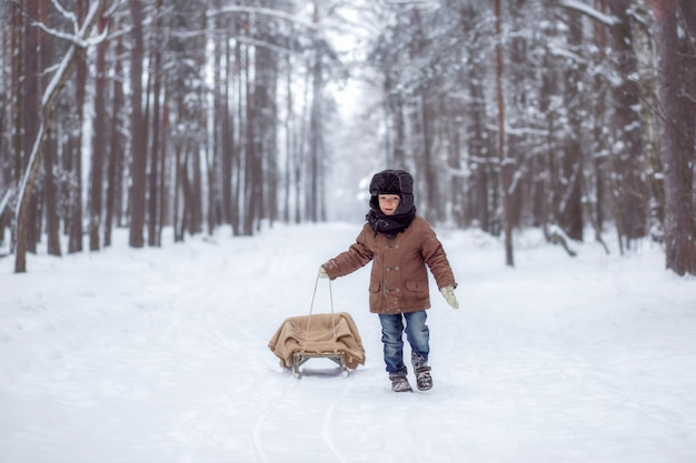 Little boy with sled in winter forest