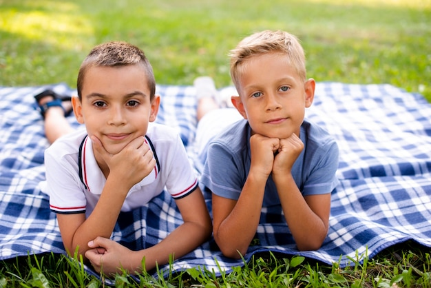 Little boys posing on a picnic blanket