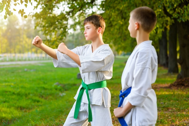 Little boys in white kimono during training karate exercises at summer outdoors