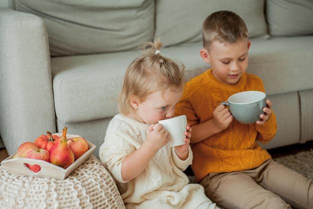 居心地の良いニットセーターを着た弟と妹が家でお茶を飲んでいます。かわいい弟と妹の肖像画。秋。