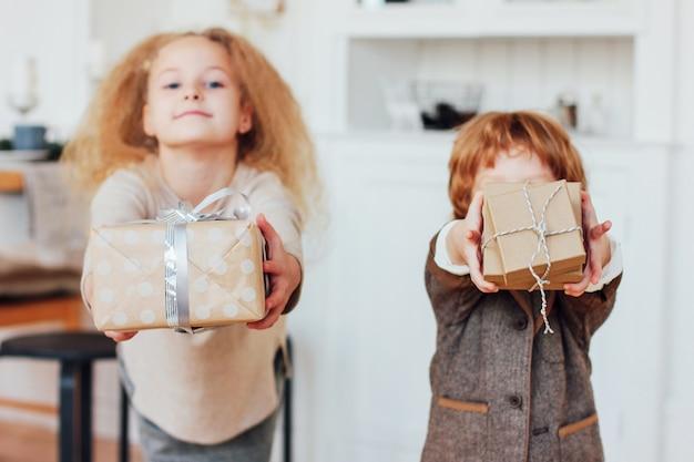 동생과 여동생은 선물을 제공합니다. 톤 상자에 초점