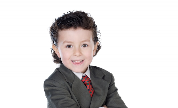 白いスペースに分離された茶色のスーツを持った小さなビジネスマン
