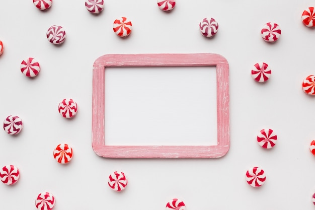 Little candies with frame and copy space