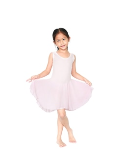 Little child girl dreams of becoming a ballerina