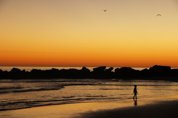 Little child plays on the ocean shore standing before the waves in lights of sunset