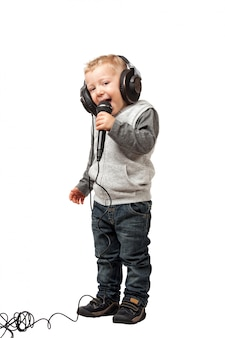 Little child with headphone