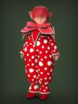 A little clown elf in a red suit. 3d illustration