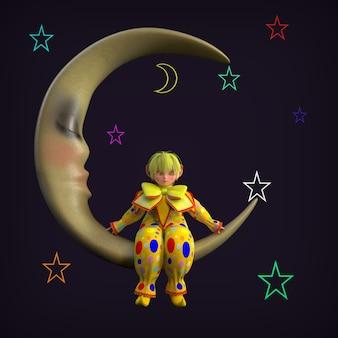 A little clown elf sitting on the moon. 3d illustration