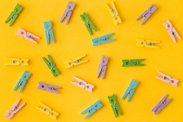 Little colorful clothes pins top view