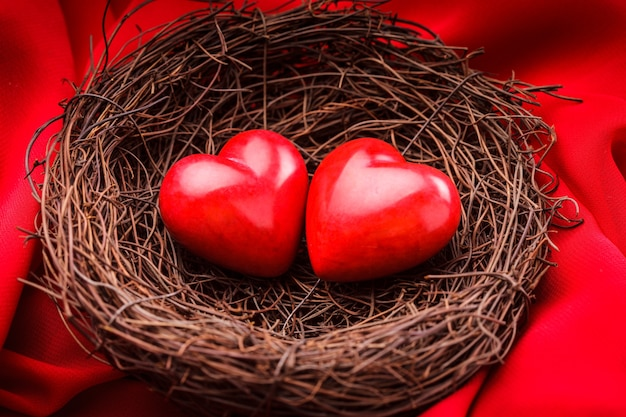 Little cozy nest with two red hearts. valentine's day greetings concept