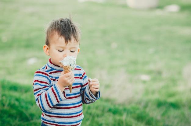 Маленький милый мальчик ест мороженое