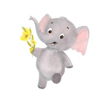 Little cute cartoon elephant with flowers