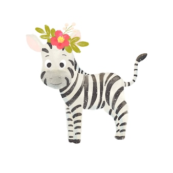Little cute cartoon zebra with a wreath