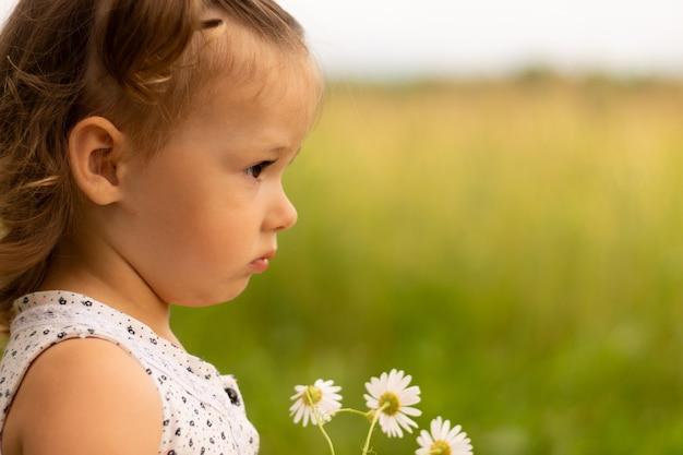 가벼운 드레스를 입은 귀여운 소녀 1-3은 여름에 데이지 꽃다발과 함께 잔디 배경에 들판에 서 있습니다