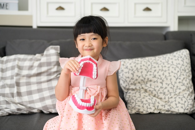A little cute girl is holding an artificial dental model of human jaw indoors, education and health concept.