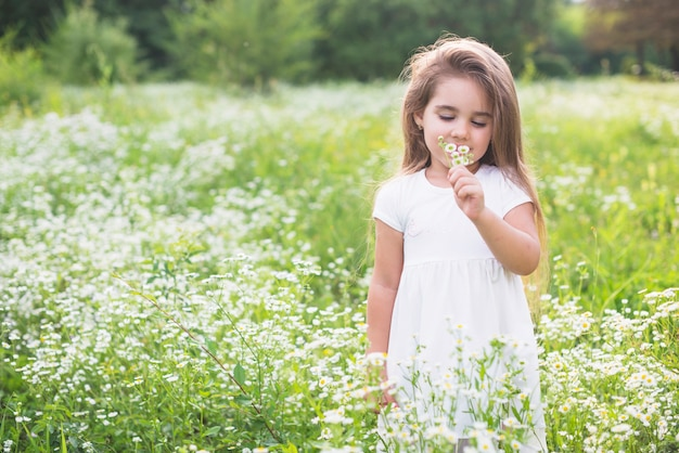 Little cute girl smelling flower in the field