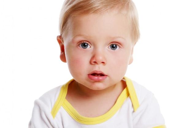 Little cute kid on white