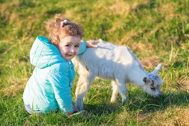 Little cute pretty girl, kid, child hugging, playing with baby goat or lamb on rancho, farm, yard in the grass. children love animals. vegetarian, vegan concept. stop killing animals.
