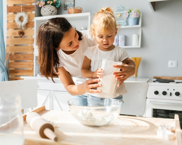 Piccola figlia e madre che cucinano insieme