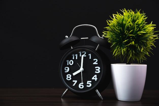 Little decorative tree with vintage alarm clock on wood