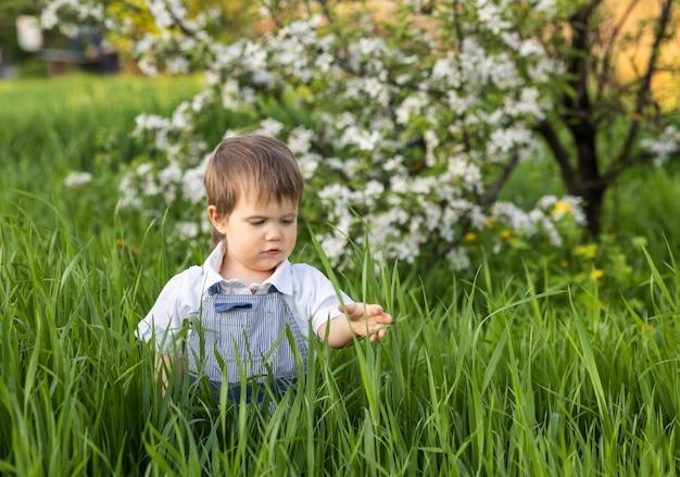 Маленький забавный мальчик в модном синем комбинезоне с выразительными голубыми глазами. милый улыбается и ест свежую зеленую траву в большом цветущем саду в высокой траве.