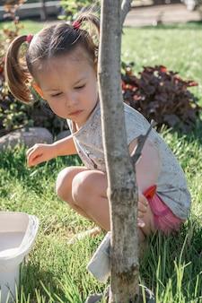 2-4세 어린 소녀는 정원에 있는 어린 나무 줄기의 기초를 흰색으로 칠하는 브러시를 가지고 있습니다. 세로