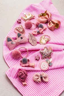 Little girl accessories in a striped cloth
