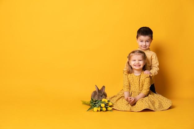 Маленькая девочка и мальчик обнимаются возле сидения кролика и тюльпанов.