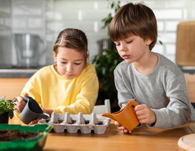 家で種に水をまく少女と少年