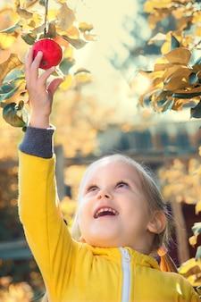 Little girl baby eats seasonal apples